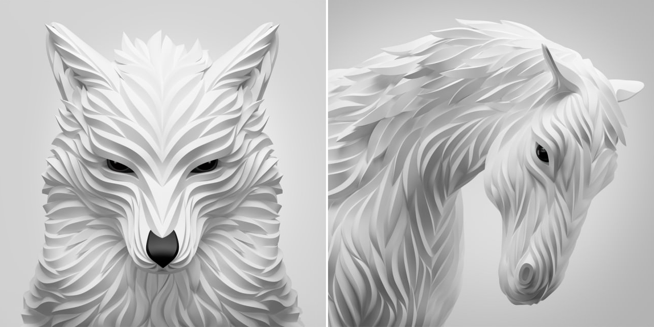 Maxim Shkret - Digital-Animal-Sculptures Fox & Horse